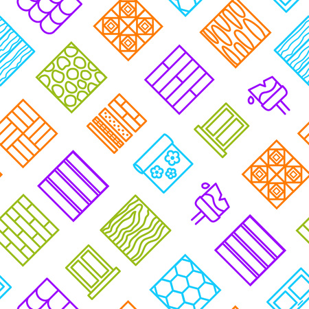 Building Construction Materials Signs Thin Line Seamless Pattern Background. Vector