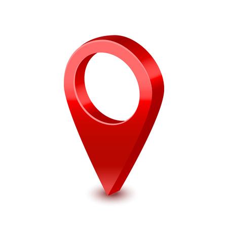 Broche de pointeur de carte rouge 3d détaillée réaliste. Vecteur