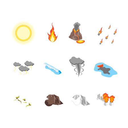Nature Disaster Concept Icon Set 3d Isometric View. Vector