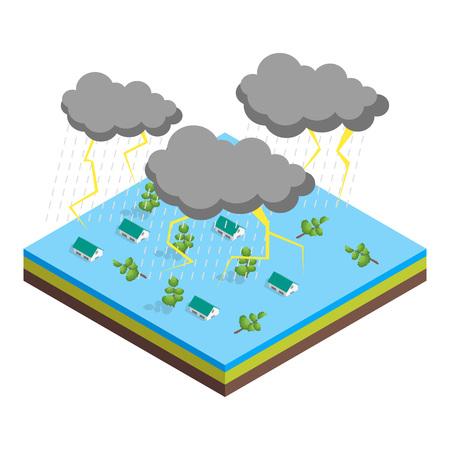 Nature Disaster Concept 3d Isometric View. Vector Ilustração