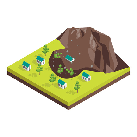 Nature Disaster Concept 3d Isometric View. Vector Çizim