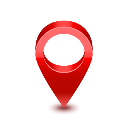 Realistic Detailed 3d Red Map Pointer Pin Symbol of Location and Navigation. Vector illustration
