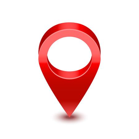 Símbolo de pin de puntero de mapa rojo detallado 3d realista de ubicación y navegación. Ilustración vectorial