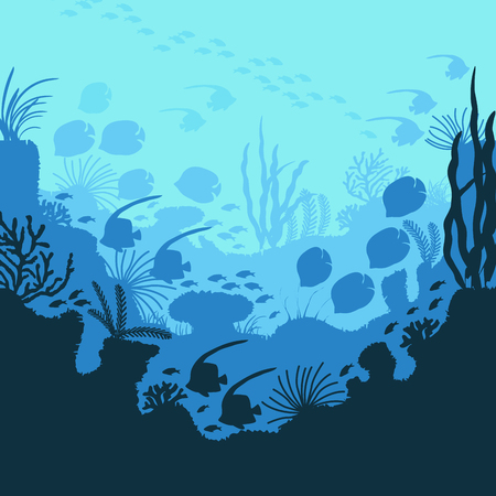Cartoon Underwater Blue Sea or Ocean Background Scene Concept Flat Design. Vector illustration of Deep Undersea Nature Иллюстрация
