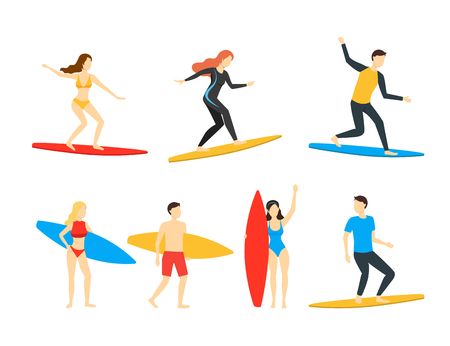 Cartoon Different Characters People Surfers Set Surf Activity, Extreme Leisure Concept Flat Design. Vector illustration of Man and Woman