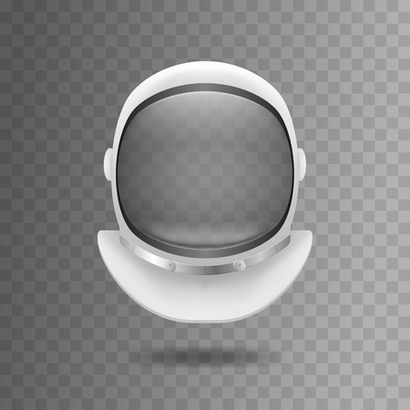 Realistischer 3d ausführlicher weißer Kosmonauten-Helm auf einem transparenten Hintergrund Raumanzüge-Maske. Vektor-Illustration von Element-Kosmonauten-Anzug