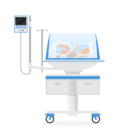 Cartoon Color Infant Incubator with Little Newborn Baby Inside Neonatal Clinic Treatment and Care Concept. Vector illustration