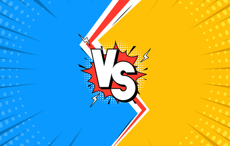 Versus Letters Fight Background Flat Comics Style Design with Lightning Cartoon Compare Concept for Web. Vector illustration Çizim