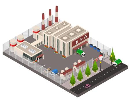 Recyclinganlage Konzept 3D isometrische Ansicht umfassen Fabrikgebäude, LKW und Rohre für das Marketing. Vektor-Illustration Vektorgrafik