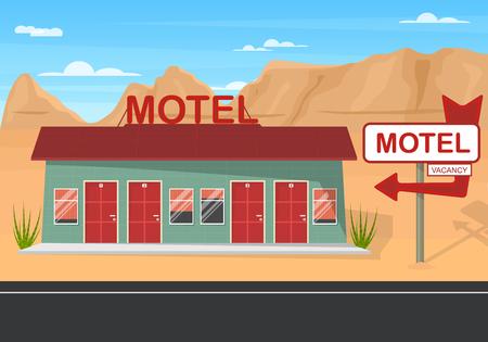 Cartoon Roadside Motel on a Landscape Background Travel Architecture Elements Concept Flat Design. Vector illustration of Hotel