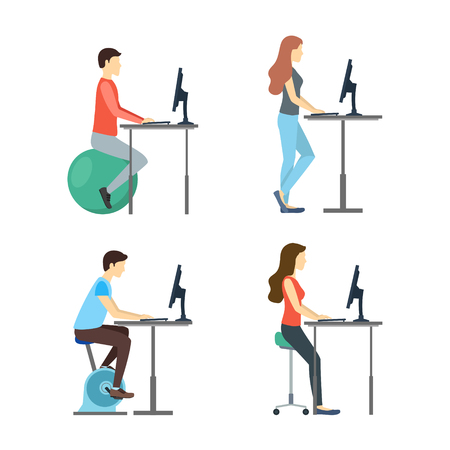 Cartoon Characters People Standing Desk Set Man and Woman on Chair, Bike and Fitness Ball. Vector illustration