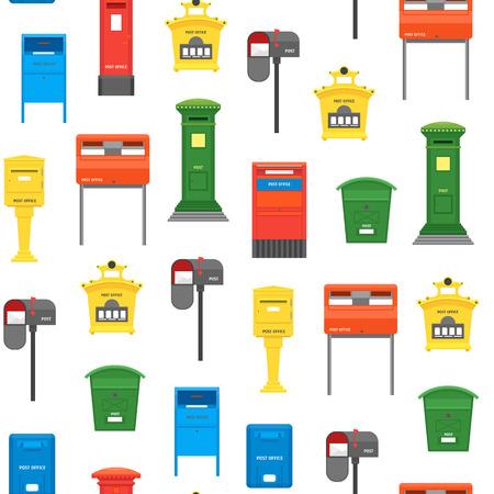 Fondo senza cuciture del modello della cassetta delle lettere di colore del fumetto su un simbolo di stile di design piatto di concetto di post bianco della lettera di consegna. Illustrazione vettoriale di cassetta postale Vettoriali