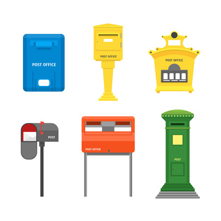 Cartoon Color Mail Box Isolated Set Post Concept Flat Design Style Symbol of Delivery Letter. Vector illustration of Mailbox Иллюстрация