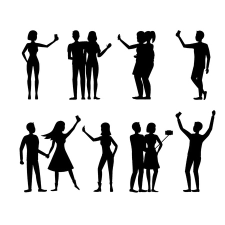 Cartoon Silhouette Black Characters People Takes Selfie Concept. Vector