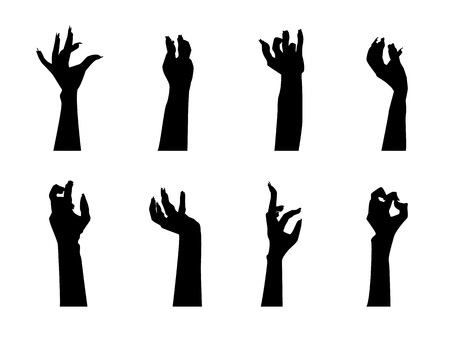 Cartoon Silhouette Black Zombie Hand Icons Set Aggression, Scary and Creepy Concept Flat Design Style Different Types. Vector illustration Illustration