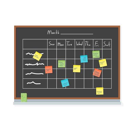 Cartoon Business Teams Blackboard und Npotes Konzept Element Flat Design Style für Web und App. Vektor-Illustration