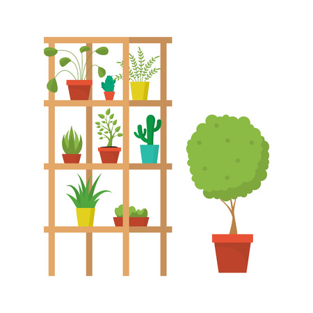 Cartoon Rooms Furniture and Plants Concept. Vector