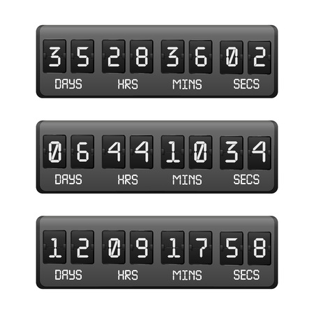 Realistic Detailed 3d Black Countdown Timer on a Black. Vector