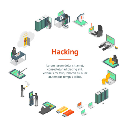 Hacker Signs 3d Banner Card Circle Isometric View. Vector