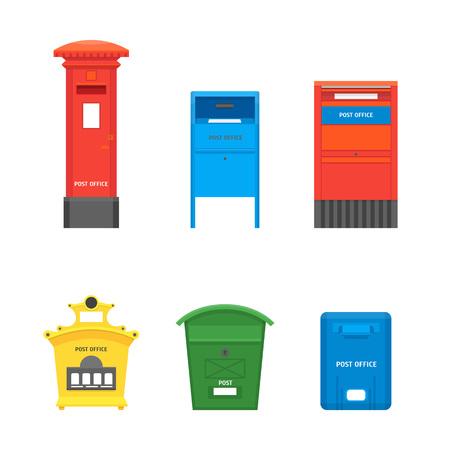 Dessin animé couleur boîte aux lettres définie Post Concept Design plat Style symbole de lettre de livraison. Illustration vectorielle de boîte aux lettres