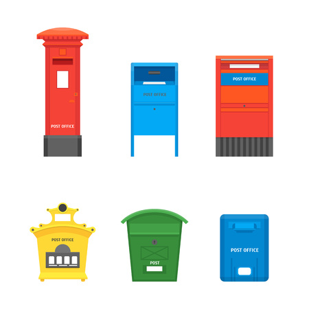Dessin animé couleur boîte aux lettres définie Post Concept Design plat Style symbole de lettre de livraison. Illustration vectorielle de boîte aux lettres Vecteurs