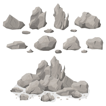 Grey Rock Stones Different Shapes Set Natural Mineral Element Solid and Heavy. Vector illustration of Flagstone Rocky Boulders