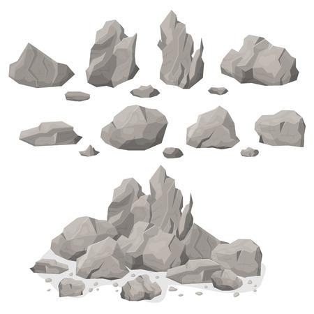 Insieme di forme diverse di pietre di roccia grigia elemento minerale naturale solido e pesante. Illustrazione vettoriale di massi rocciosi lastricati