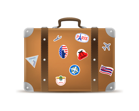Realistic 3d Detailed Vintage Leather Suitcase with Travel Stickers and Labels Isolated on a White Background. Vector illustration Ilustración de vector