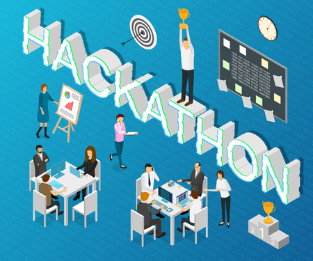 Hackathon Forum Concept Card 3d Isometric View Include of Programming, Development, Marketing, Coworking and Software. Vector illustration Vektorové ilustrace