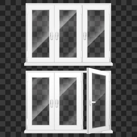 Realistic 3d Detailed White Plastic PVC Window Set. Vector Stock Vector - 122877069