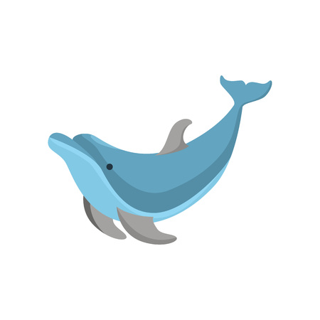 Cartoon Character Funny Dolphin on a White Comical Ocean Mammal Concept Element Flat Design Style. Vector illustration