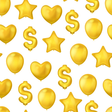 Realistic Detailed 3d Shiny Golden Balloons on a White Seamless Pattern Background Different Types Include of Star and Heart. Vector illustration of Balloon