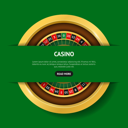 Realistic Detailed 3d Round Casino Roulette Banner Card Top View Symbol of Gambling Game, Risk and Win. Vector illustration