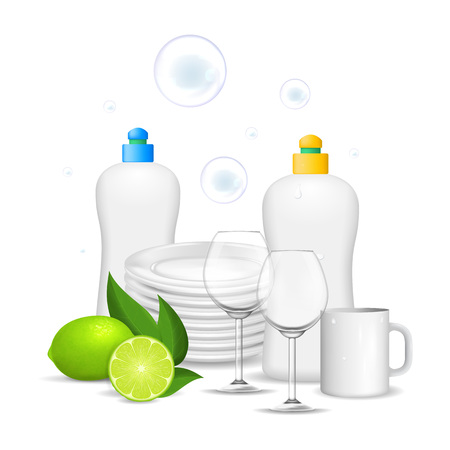 Realistic Detailed 3d Clean Dishes and Glassware Set on a White Background for Restaurant and Bar. Vector illustration 일러스트