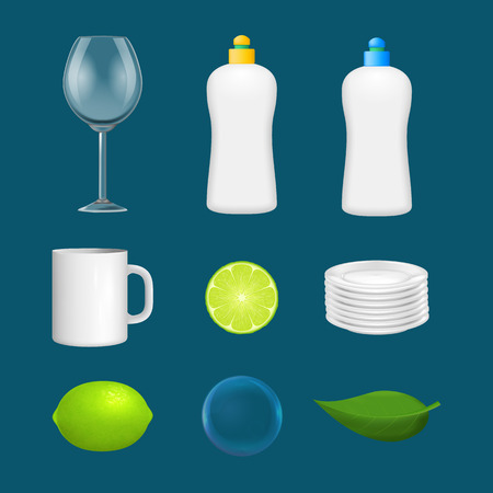 Realistic Detailed 3d Clean Dishes and Glassware Icon Set on a Blue Background for Restaurant and Bar. Vector illustration