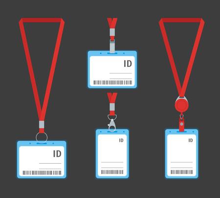 Cartes d'identité en plastique de dessin animé sur un nom d'identité d'insigne de fond gris pour le style de conception plate de concept d'entreprise. Illustration vectorielle de carte d'identité