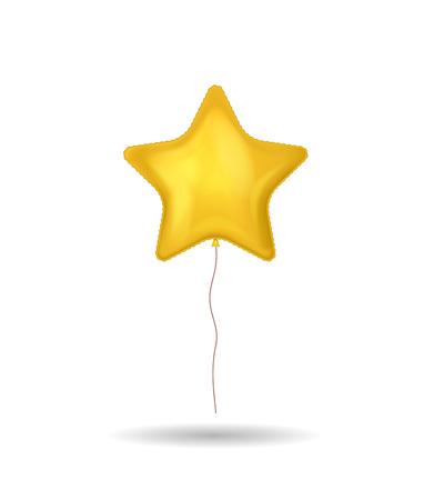 Realistic Detailed 3d Shiny Golden Balloon on a White. Vector illustration of Shape Star Stock Illustratie