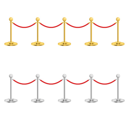 Realistic Detailed 3d Gold and Silver Barriers for Event, Award, Entertainment and Premiere. Vector illustration