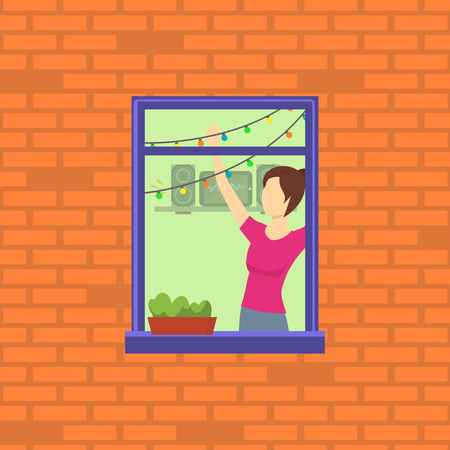 Cartoon Neighbor Character into the Window. Vector  イラスト・ベクター素材