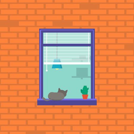 Cartoon Neighbor Character into the Window. Vector Illustration