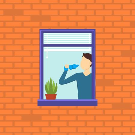 Cartoon Neighbor Character into the Window. Vector Ilustrace