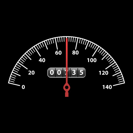 Realistic Detailed 3d Car Speedometer Panel Control on a Dark Symbol of Technology Dashboard Measurement Speed. Vector illustration of Vehicle Dial