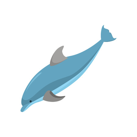 Cartoon Character Funny Dolphin on a White Swimming Ocean Mammal Concept Element Flat Design Style. Vector illustration