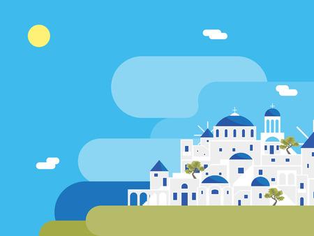 Cartoon Santorini Island Village Landscape Background. Vector Stockfoto - 122877094
