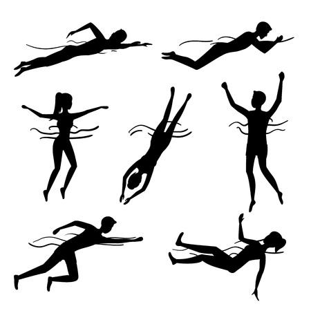 Personaggi della siluetta nera che nuotano e si tuffano insieme di persone. Vettore