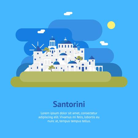 Cartoon Santorini Island Village Card Ad. Vector