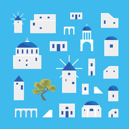 Cartoon Santorini Island Village Icon Set. Vector