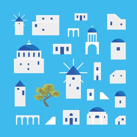 Kreskówka zestaw ikon wioski Santorini Island. Wektor