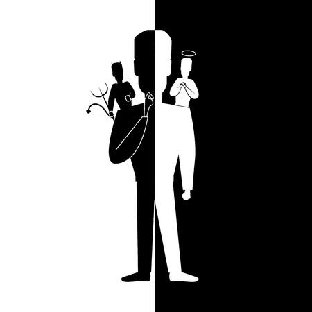 Hombre de personaje negro silueta de dibujos animados con ángel y diablo en los hombros.