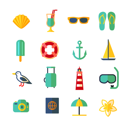 Cartoon Color Summer Holiday Icon Set.